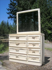 "8 Drawer Log Dresser (with Mirror, short 48"")"