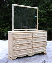 8 Drawer Log Dresser (with Mirror)