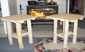 Half Log End Tables (Set of 2)