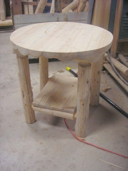 "24"" Round Log Nightstand"