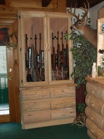 Glass Log Gun Cabinet