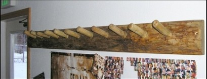 Log Coat Peg Rack