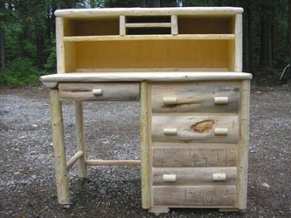 Log Office Desk (with Hutch)