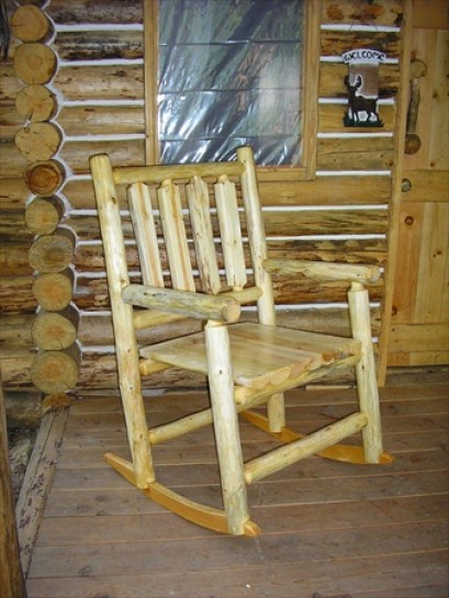 Outdoor Rustic Log Rocking Chair