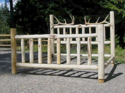 Queen Log Antler Bed